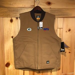 New BERNE Green Bay Packers Quilted Duck Vest L!